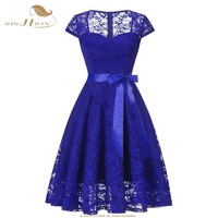 SISHION Women Summer Dress Vintage Short Sleeve Hollow Out Sexy Lace Dress Elegant Solid Party Dresses Female Vestidos VD0957