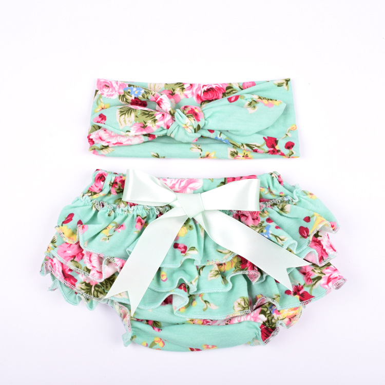 Baby Girls Pants Underwear Baby Pants for Girls PP Pants Floral Cotton Shorts + Bow Headwear EU USA Style