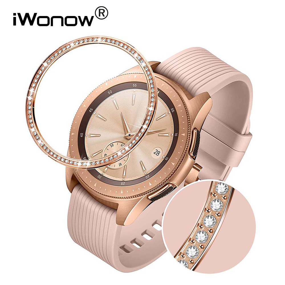 Stainless Steel & Diamond Bezel Ring For Samsung Galaxy Watch 42mm Women Rose Gold Adhesive Case Anti Scratch Protection Cover