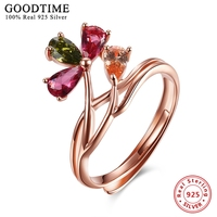 Sterling Silver Jewelry Women Colorful Zircon Flower Romatic Rings Real Solid 925 Sterling Silver Rings Women