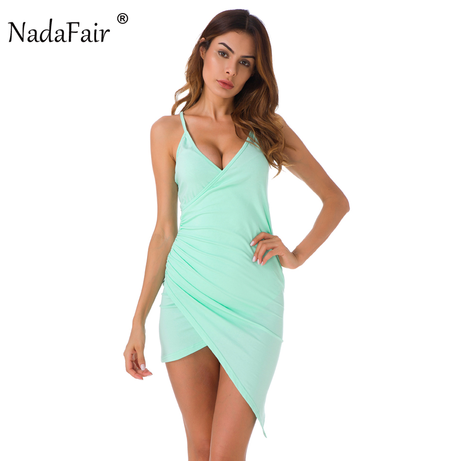 Nadafair Mint Green Spaghetti Strap Sexy V Neck Club