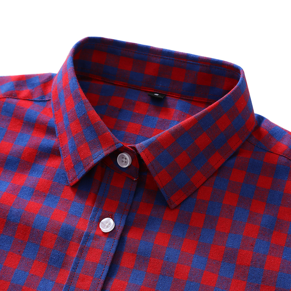 rose Plus Blusas De Tops Chemise 2017 Big Red Blouse Zanzea Femelle Red wholesale Femmes Cadim 5xl Chemises Automne La À Carreaux Taille Mode Mince Kimono BwxqfOaw