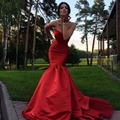 China barato Querida Sexy Red Satin Mermaid Longo Prom Vestido de Noite 2017
