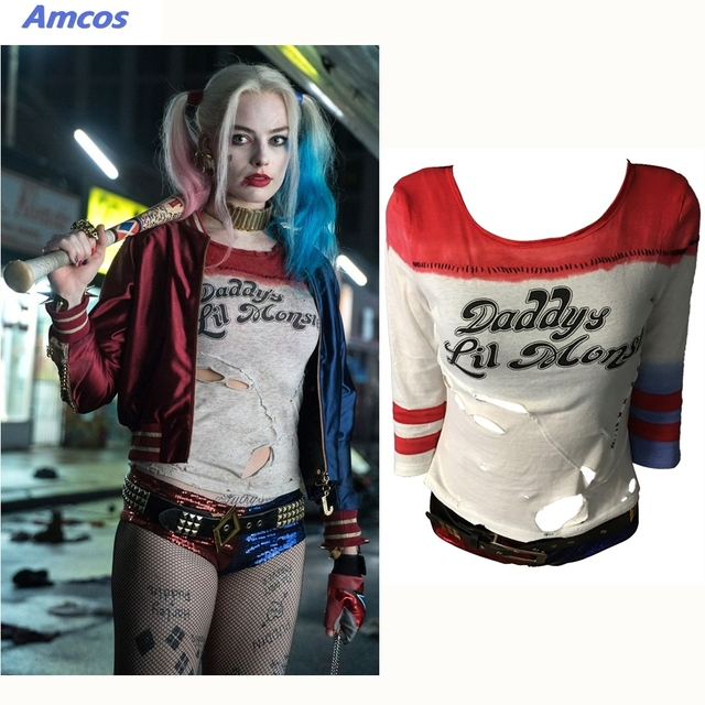 a66c11e296067 Movie Suicide Squad Harley Quinn Cosplay Accessories T-Shirt 1:1 Original  Edition Woman Costumes Halloween Party Props T Shirt