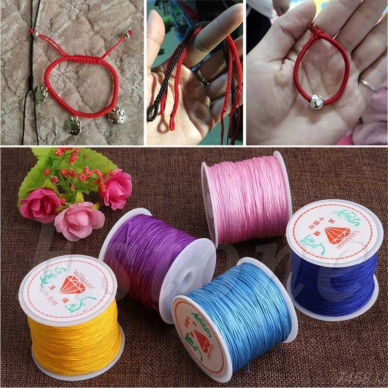 1 rolka 17 kolorów 45M x 0.8mm nylonowa lina pleciona chińska bransoletka makrama pleciony sznur nici kamyki na łańcuszku Craft DIY biżuteria