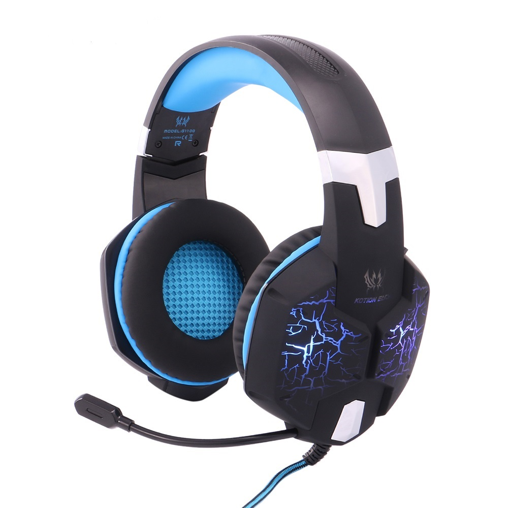 EACH G1100 Pro Vibration Deep Bass Gaming Headphone Wired Stereo Gamer Surround Headset With Mic LED Light for PC PX4 Gamer