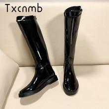 TXCNMB/Сапоги до колена; женские теплые длинные мотоботы; сезон осень-зима; женская обувь из натуральной кожи на низком каблуке
