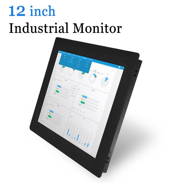 Monitor Industrial de carcasa metálica de 12 pulgadas, pantalla visualización táctil USB con salida HDMI, VGA, DVI, AV, BNC