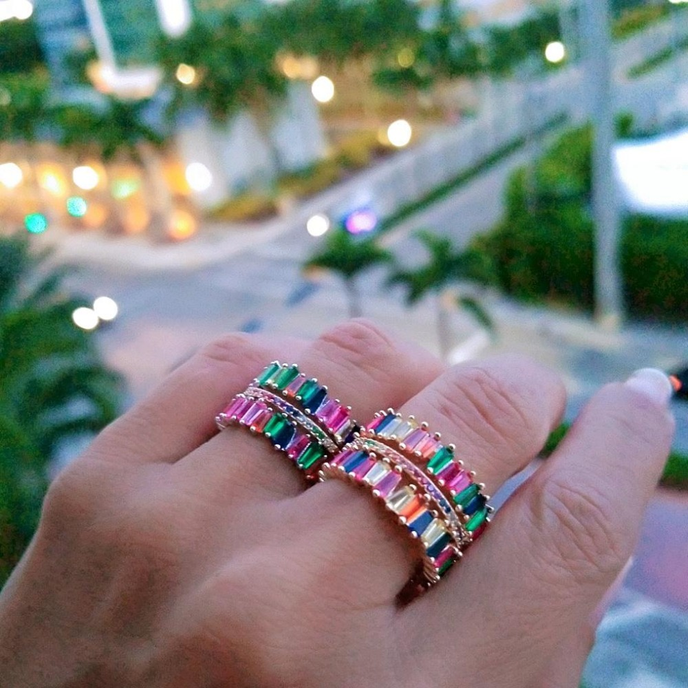 Intellektuell Klassische Engagement Hochzeit Finger Ringe Schmuck Gold Farbe Micro Inlay Bunte Cz Zirkonia Stein Ringe Für Frauen Mode Schmuck & Zubehör