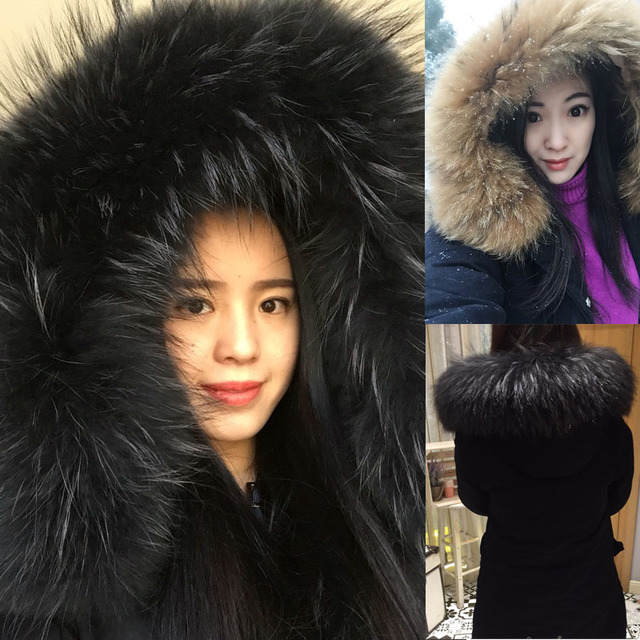 2017 Women's Thick Long Coats With Super Large Real Raccoon Fur Collar Plus Size Long Warm Cotton Parks