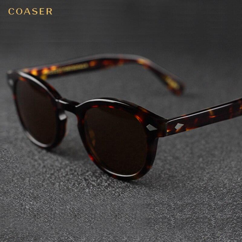 COASER NEW Vintage Ronde Acétate EyeglassesPolarized lunettes de Soleil Hommes Femmes Marque Designer Gafas De Sol Lunettes oculos de grau