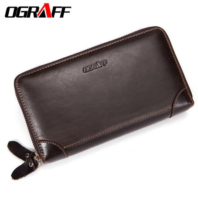 OGRAFF Double Zipper Men Wallet Clutch Bags Men's Purses Genuine Leather Men Wallets Leather Man Wallet Long Money Male Purse