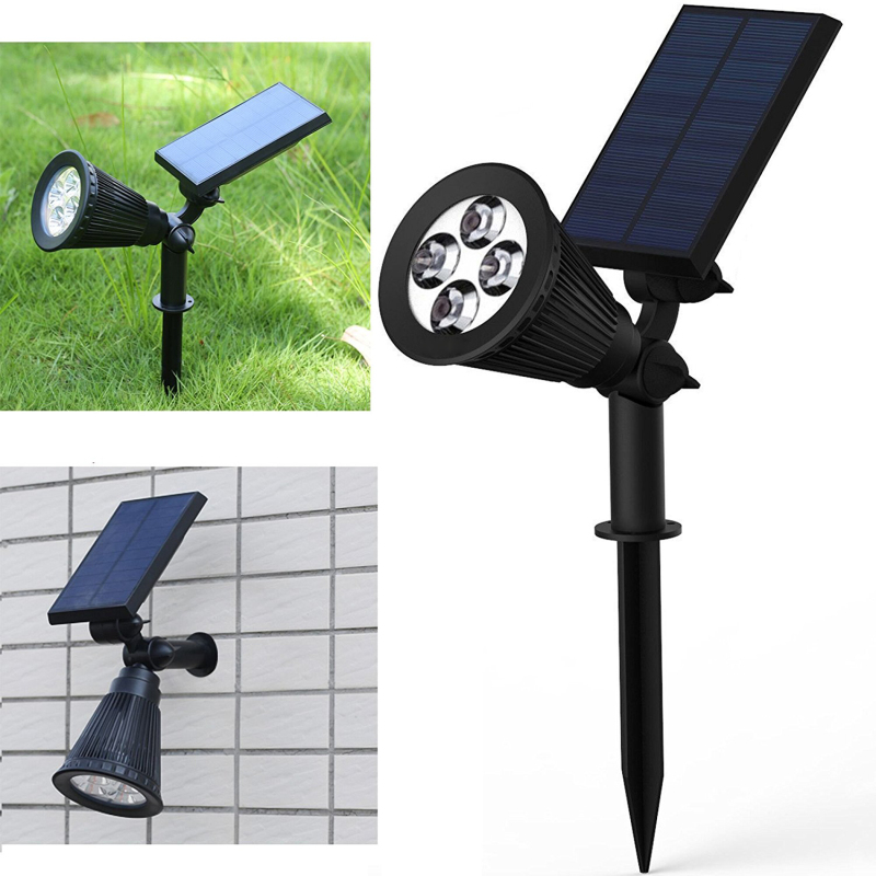 ФОТО Led Solar Light Garden Street Lamp 5V 2W High Bight Outdoor Landscaping Wall Lawn Lights with solar panel battery