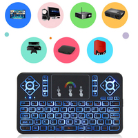 New Arrival 7 Color Backlight Q9 English 2 4GHz Wireless Keyboard Touchpad Handheld Backlit For Android