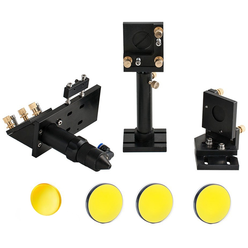 Co2 Head Set Mounting Holder + 1pc Focusing Lens + 3pcs Si Reflective Mirrors For Engraver Cutting Machine Parts