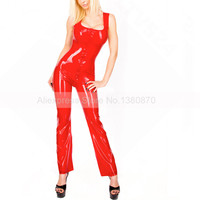 Transparent Red Sexy Rubber Latex Female Catsuit Bodysuit with Front Zip to Hip S LC199