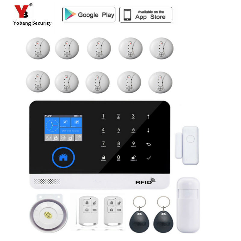 YoBang Security Wireless SIM GSM Home RFID Burglar Security Touch Keyboard WIFI GSM Alarm System Wireless Smoke Alarm