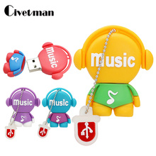 Cute Pendrive Cartoon Music Man 128GB USB Flash Drive 4GB 8GB 16GB 32GB 64GB Pen Drive 256GB Musician USB 2.0 Flash Memory Stick