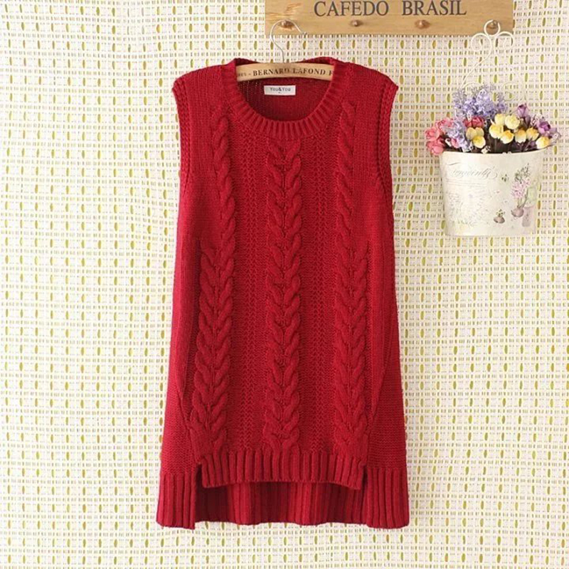 Plus size spring loose women vest sleeveless sweater 2017 new fashion knitted Pullovers red O neck wool female top wear 3xl