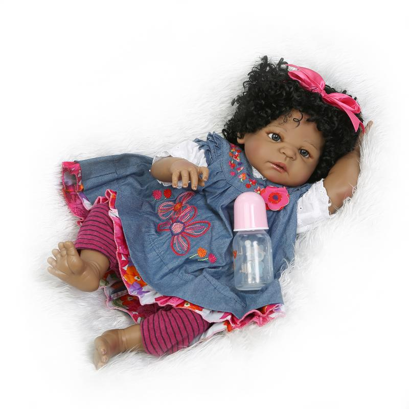 22in Bonecas Reborn Ethnic Newborn Bebe de Silicone Indian Curly Hair with Bear