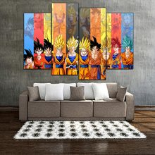 Wall Painting Living Room Picture Artworks 4 Pieces Dragon Ball Super Anime Canvas Poster HD Printed Home Decor Attack on Titan(China)