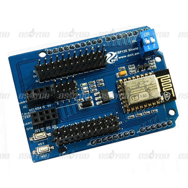 US $11 9 |ESP8266 Web Server Serial Port WiFi Shield Expansion Board ESP 13  Compatible for Arduino UNO MEGA 2560 Smart robot car-in Demo Board from