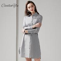 New Summer/Spring Dress 2019 Strip/Knee/Casual/Long Sleeve Dress Elegant Shirt/Summer Dresses Casual Ceciliayu