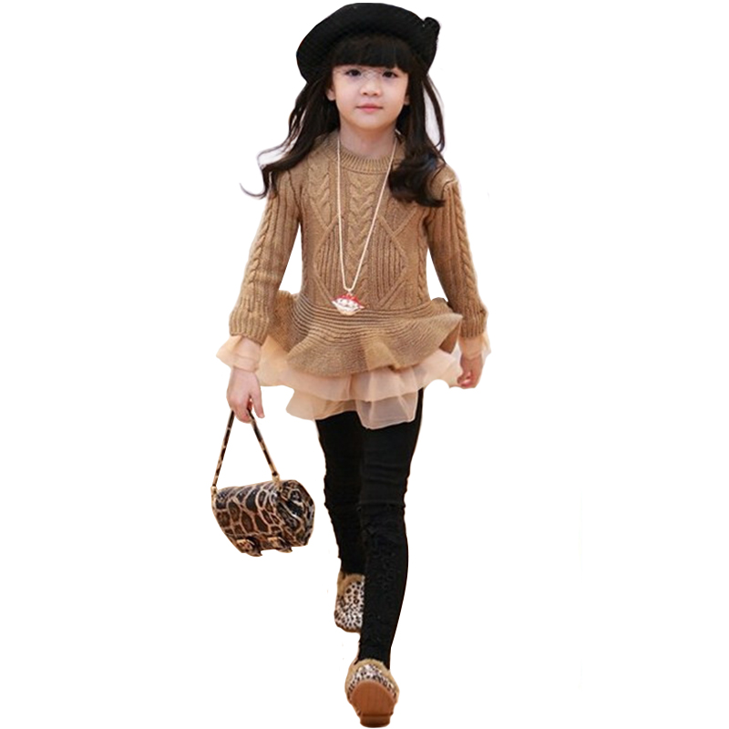 Kids Sweater Spring And Autumn New European And American Style Children's Clothing girls Pullover With Organza Skirt Lap
