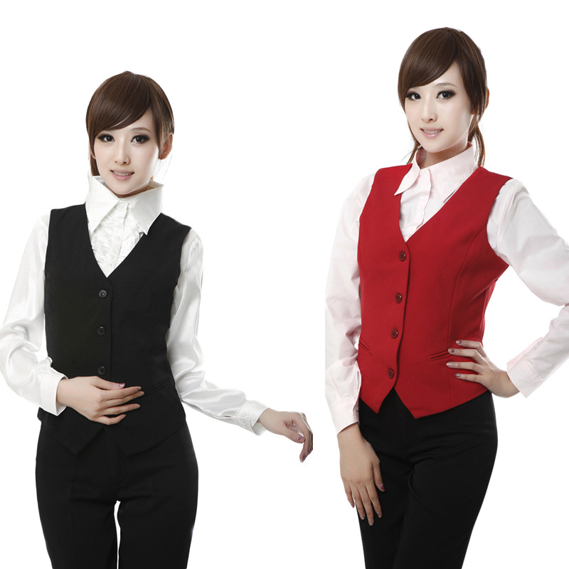 Cheap! Plus Size Red Black Women's Vest Work Wear Slim Short Veste Femme 2018 New Spring Waistcoat Office Lady Sleeveless Jacket