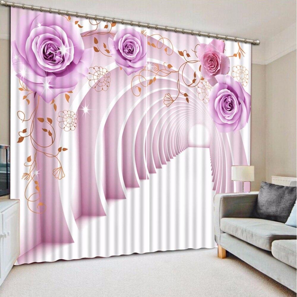 Photo Window Curtains Purple Rose 3D Curtains Blackout Extend Space Romantic Curtains For Bedroom Custom Any Size Photo Window Curtains Purple Rose 3D Curtains Blackout Extend Space Romantic Curtains For Bedroom Custom Any Size