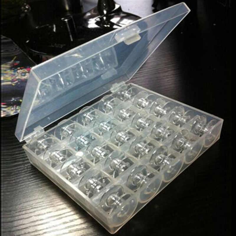 Boîte de rangement en plastique pour bobines Machine à coudre | Clair 25 pièces bobines et bobines vide, boîte de rangement en plastique pour accessoires de couture domestiques, outils AA7650