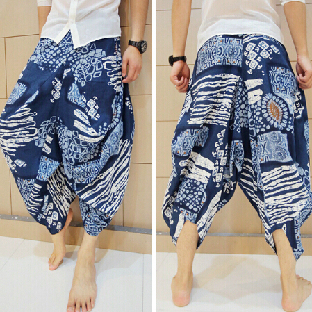 Elegant Geometry Low Dropped Crotch Cotton Harem Pant Mens Original Design Fashion Loose Casual Summer 2016 Brand Beach Trousers