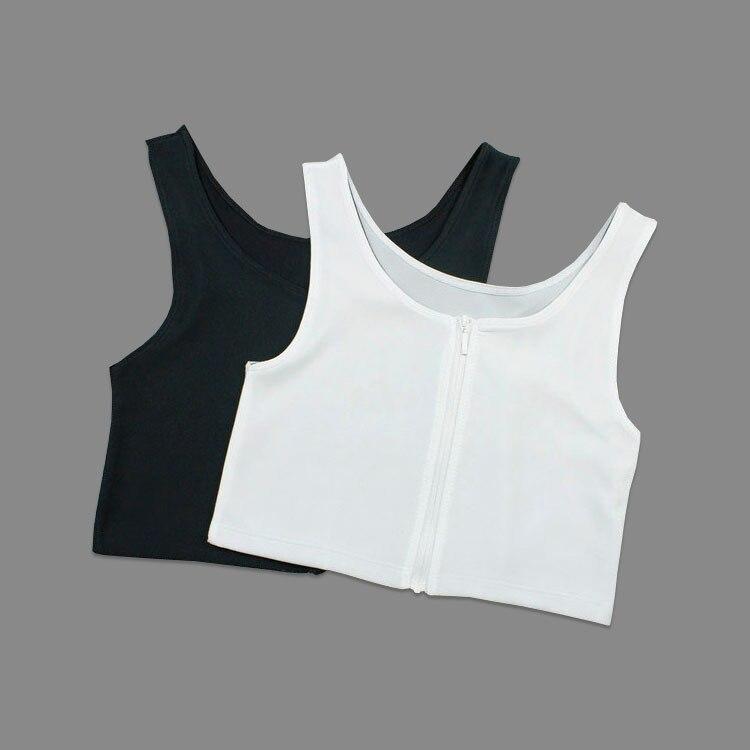 Летние Удобные корсеты, плоская скоба для груди, бамбуковый древесный уголь, на молнии, Короткие корсеты, большие размеры, S-3XL, черный, белый