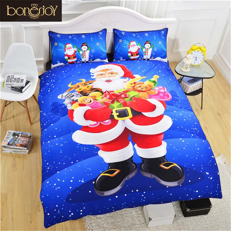 Bonenjoy Christmas Bedding Covers For Children Santa Claus Kids Bed Linen Single Twin Size Christmas Duvet Cover King