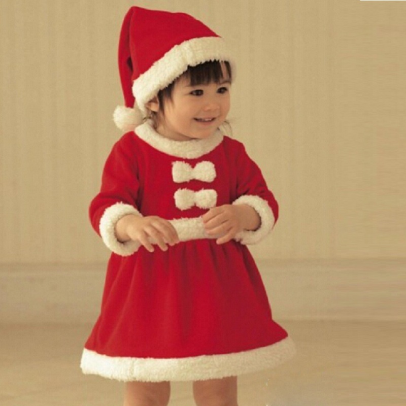 New baby romper newborn boys girls Christmas Santa Claus bebe fleece lining romper + hat suit infant New Year clothes
