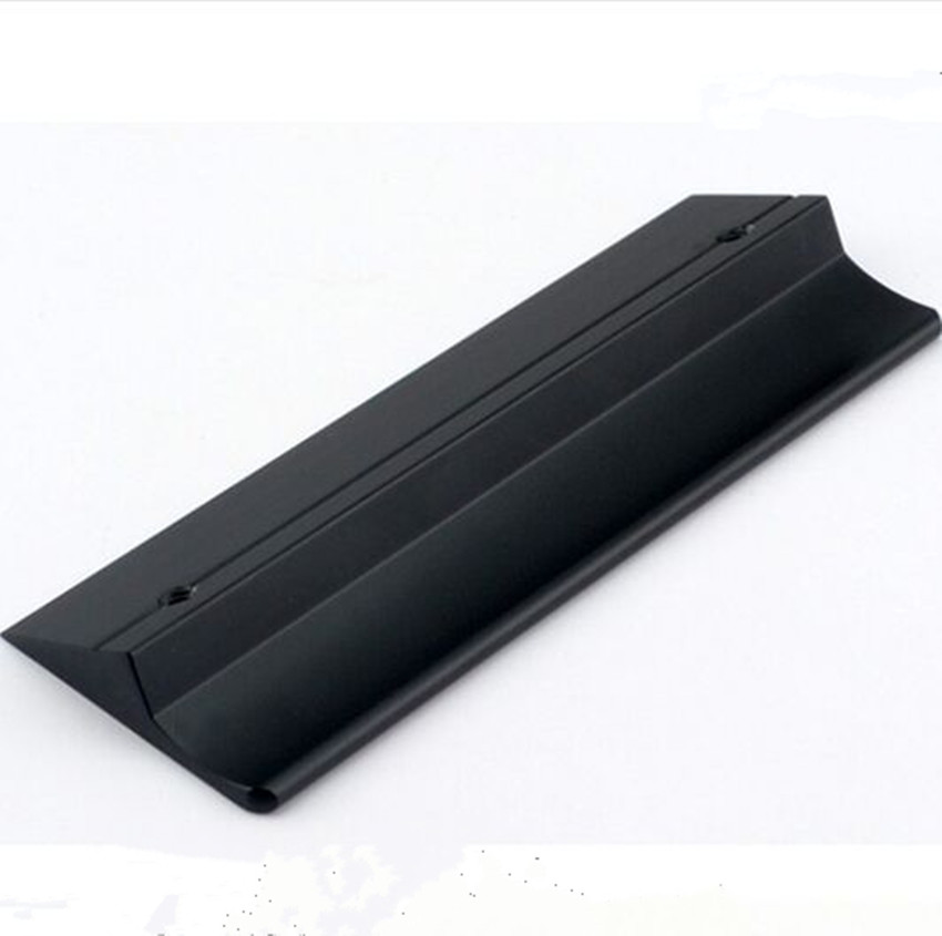 Ручка двери шкафа Скрытая Стелс черный ручка шкафа Алюминий край ручки бар современный простой мебели черный тянуть 224 мм 160 мм