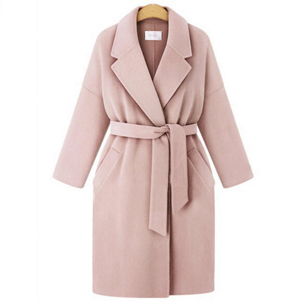 Women Warm Wool Blends Long Winter Trench Coat with Belt Oversize Overcoat Cashmere Coats Cardigan Long Loose Coat Outwear