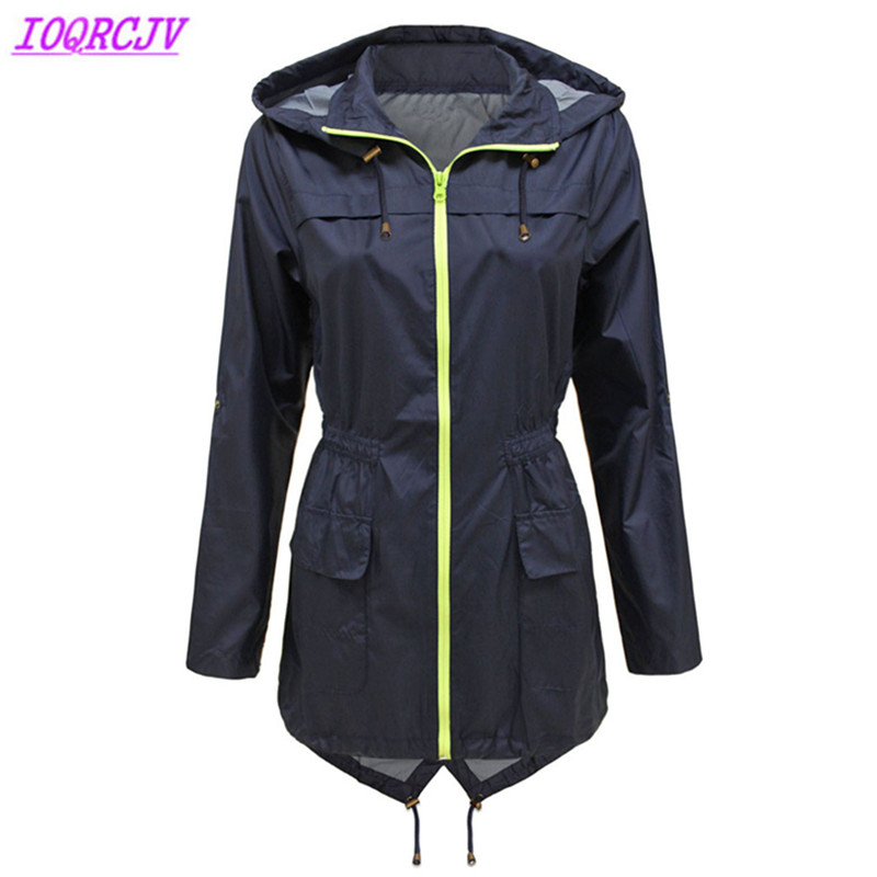 Waterproof trench coat for women 2018 spring autumn Hooded Long sleeve Windbreaker Plus size Slim female Casual top coats H502