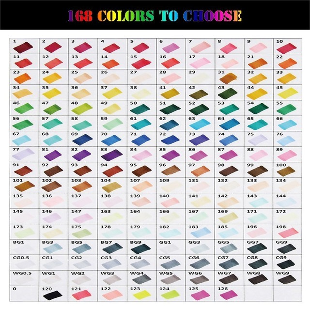 168 Colors Single Art Markers Brush Alcohol Based Markers Sketch Pen Dual Drawing Painting Set Manga Architecture Art Supplies 5