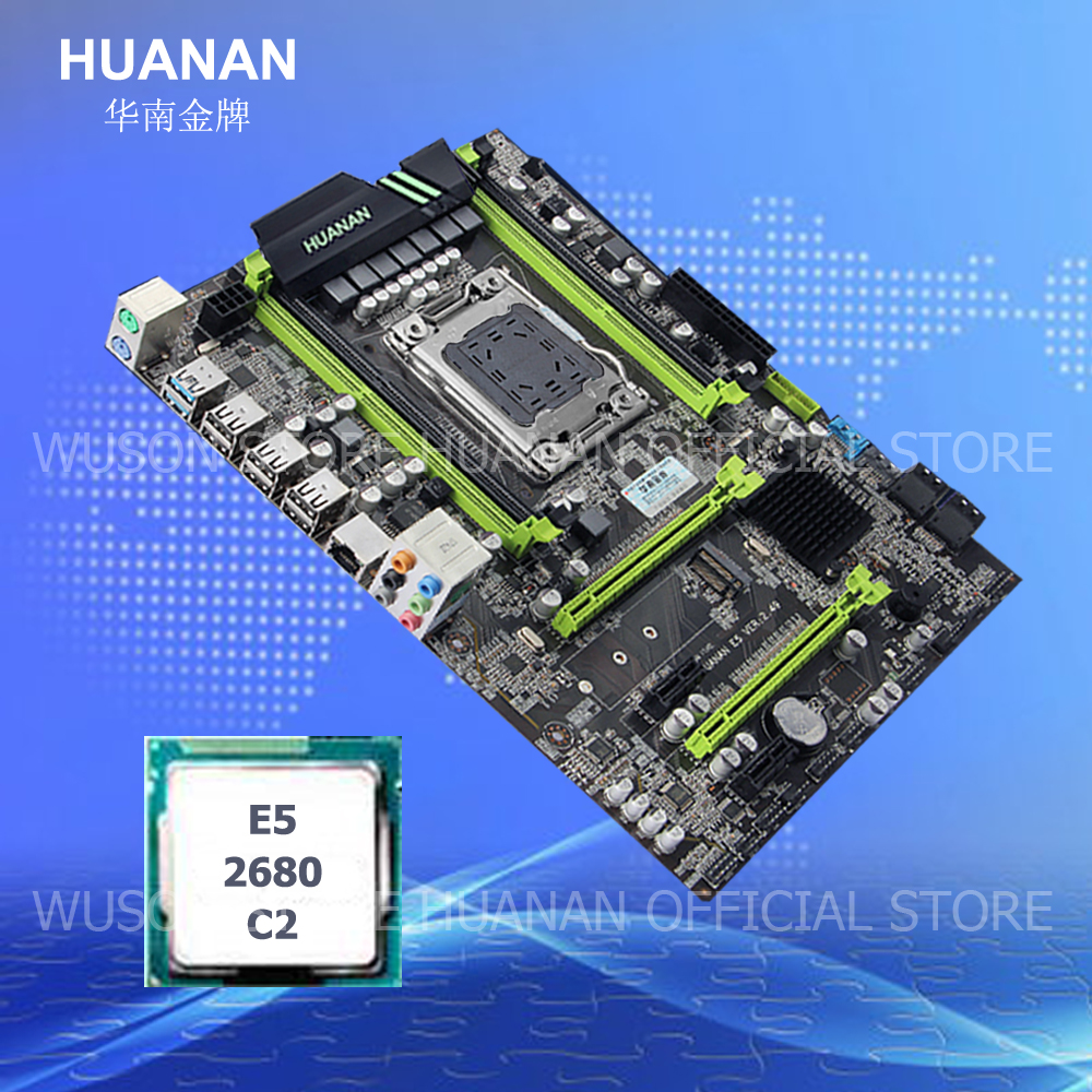 HUANAN V2.49 X79 motherboard CPU combos CPU Intel Xeon E5 2680 C2 2.7GHz RAM 4 slots support 4*16G memory M.2 PCI-E NVME huanan v2 49 x79 motherboard with pci e nvme ssd m 2 port cpu xeon e5 2660 c2 ram 16g ddr3 recc support 4 16g memory all tested