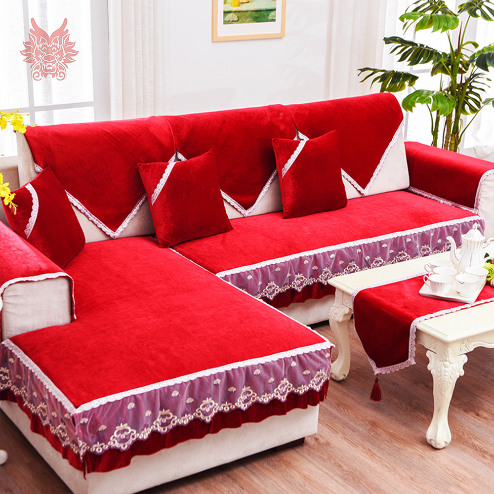 Free Ship Black Red Fleece Velvet Sofa Cover Furniture Slipcovers