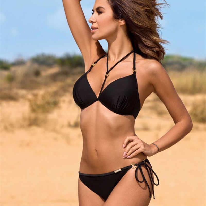 مثير رفع البيكينيات مجموعة النساء مبطن البرازيلي ملابس السباحة 2019 حجم كبير ملابس السباحة المرأة السباحة ثوب السباحة بحر