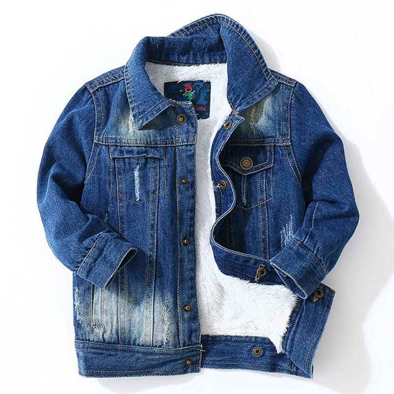 Warm Coat Jacket Autumn Handsome Clothing Baby Children's New Velvet Thick Cowboy Plus