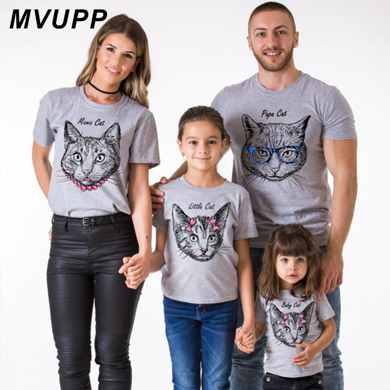 Papa Mama Little Baby Family Matching Clothes Cat Funny T Shirt Mother Daughter Outfits Father Son Mommy And Me Look Mum Mama