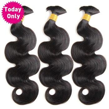 TODAY ONLY Brazilian Body Wave 3 Bundles Human Braiding Hair Bulk No Weft Remy Human Hair Bundles Brazilian Hair Weave Bundles