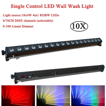 10Pcs/Lot LED Wall Washer Lamp RGBW 4IN1 Led 18x4W LED Bar Party Disco Club Light For Landscape Wash Wall Stage Effect Light