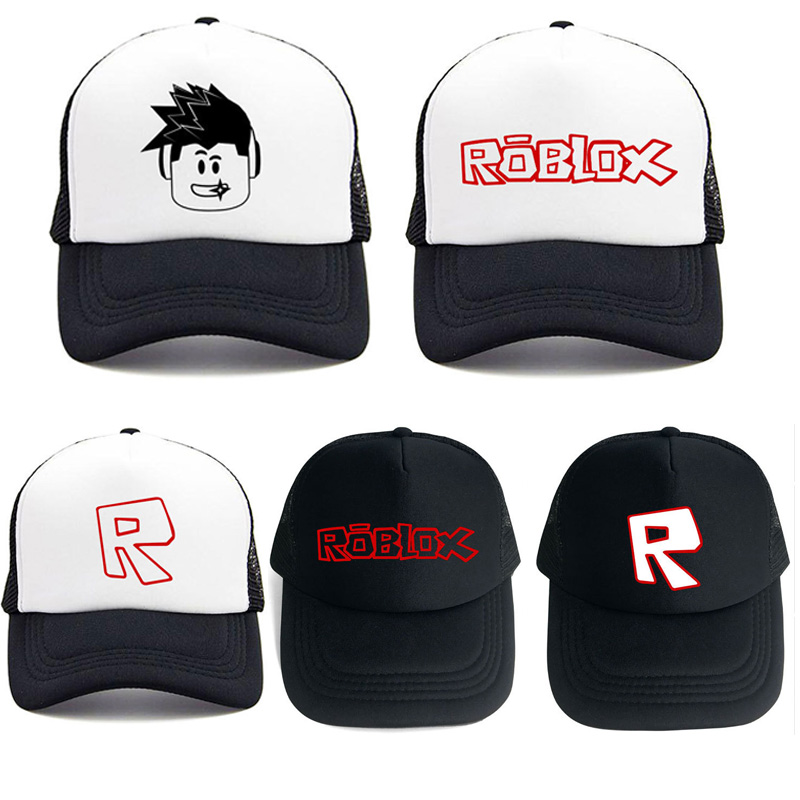 478a1a02e462e9 5 Styles Black White Game Roblox Snapback Hats Cap Baby Kids Teenager Sun  Mesh Hats Caps