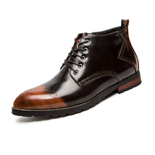 hot deal buy lefoche 2018 men's leather classic brogue boots lace up ankle boots classic modern business casual shoes for men
