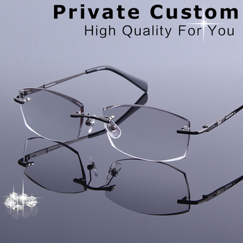 Business Style Men's Rimless Eyeglasses Diamond Cutting Reading Glasses Optical Prescription Clear Computer Myopia Eye Glasses