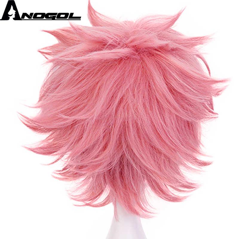 Anogol akademia bohaterów Boku no Hero Academia Mina Ashido krótkie naturalne fale różowy peruka syntetyczna Cosplay dla impreza z okazji Halloween